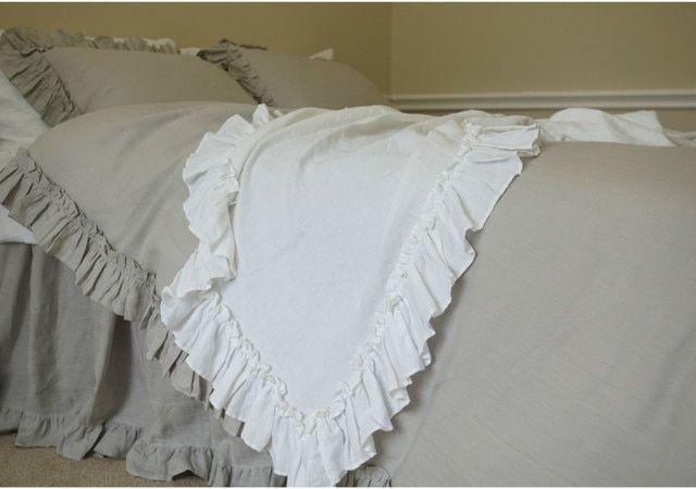 Stone Grey Linen Vintage Ruffle Duvet Cover Ruffle Duvet Cover Light Grey Bedding Grey Bedding