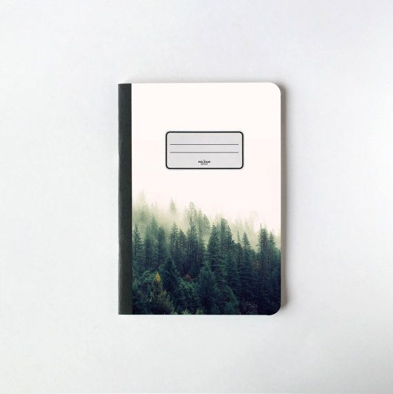 Green Pines Trees Notebook  Blank pages  Lined by PelhamGoods #etsy #nature #notebook