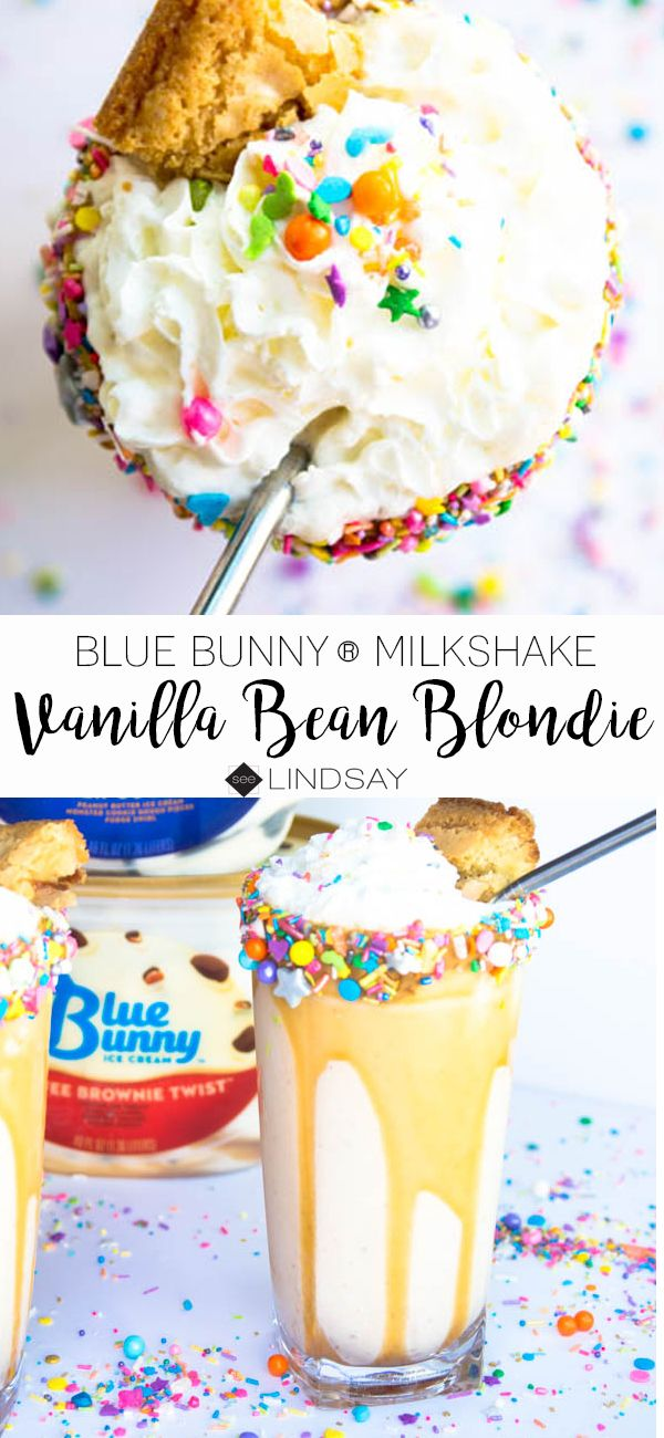 Vanilla Bean Blondie Milkshake with @bluebunnyinc Ice Cream available at @walmart #ad #sohoppingood #bluebunny