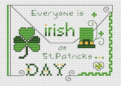 """Everyone is Irish on St.Patrick's Day "" Free Cross Stitch Pattern by www.alitadesigns.com"