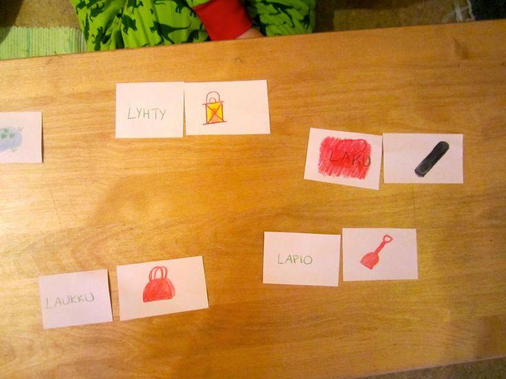 Open ideat: 1lk. äidinkieli- kuva-sana korttiparit.