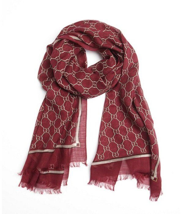 Burgundy Print Silk Scarf by Gucci. Buy for $409 from Bluefly