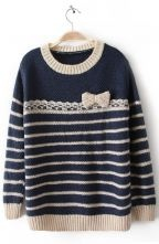Apricot Blue Long Sleeve Striped Bow Sweater 0.00 The Bow is my favorite part :)