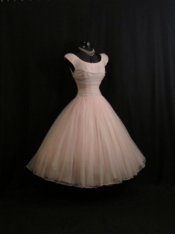 Vintage 1950's 50s Bombshell PINK Ruched Chiffon Circle Skirt Party Prom Wedding Dress #Repin