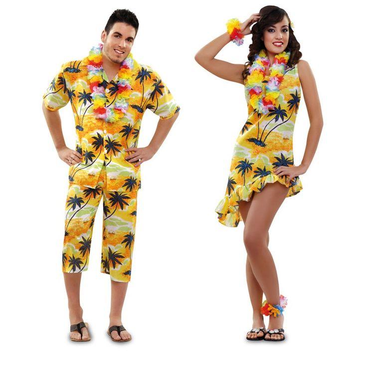 Vestidos Hawaiana, Disfraces Hawaianos, Disfraces Para Parejas, Pareja Disfraces, Disfraces Carnaval, Disfraces Halloween, Gustan, Trajes, Haloween