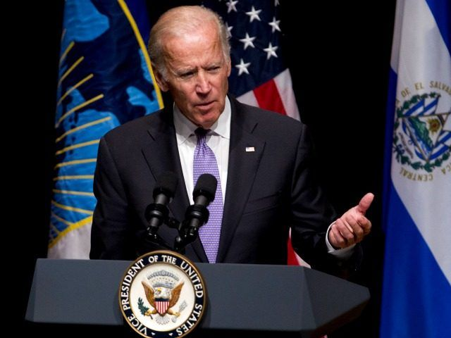 Vice President Joe Biden speaks during North Triangle forum accompanied by from left, the Presidents of Honduras Juan Orlando Hern'ndez, Salvador S'nchez Cer'n of El Salvador and Jimmy Morales of Guatemala at Inter-American Development Bank headquarters in Washington, Friday, Sept. 23, 2016.