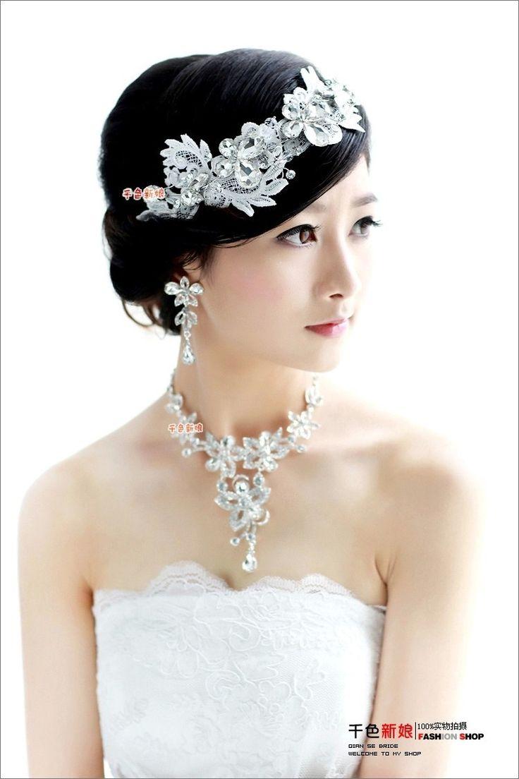 Aliexpress.comの から の中のブライダルの水晶のネックレスヴィンテージヘアアクセサリーイヤリングのレースの花の宝石類セット結婚式の宝石類のセット