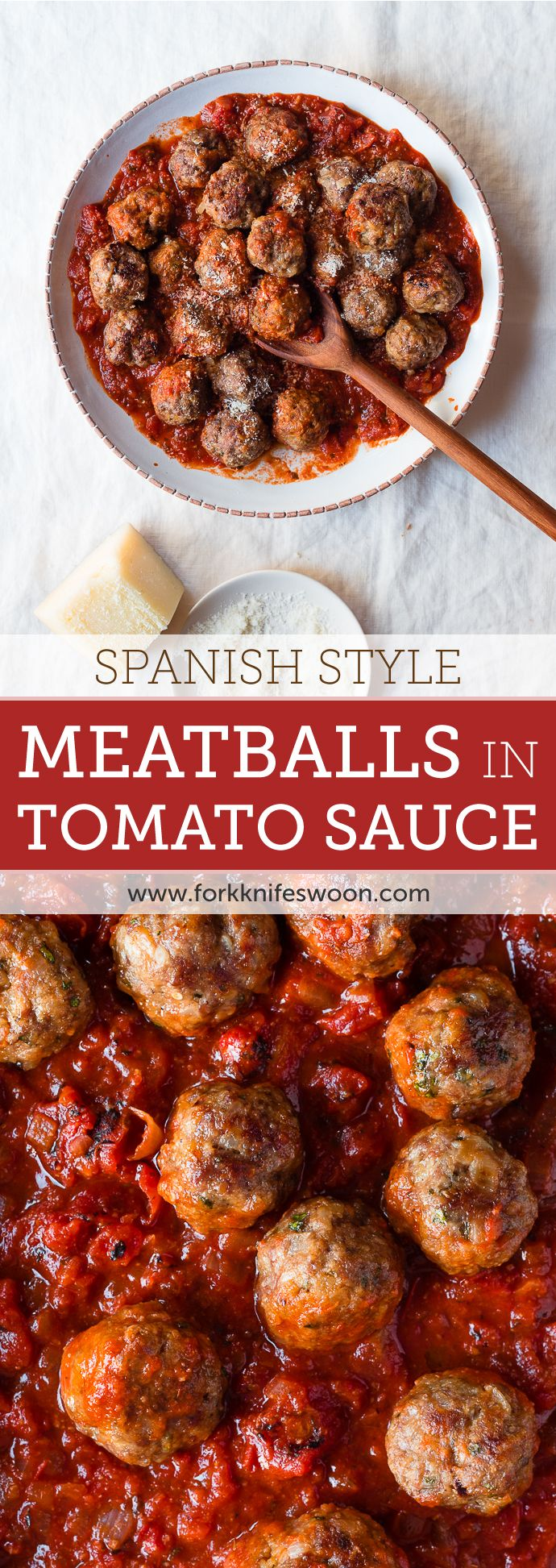 Tapas - Spanish Style Meatballs in Spicy Tomato Sauce   Fork Knife Swoon @forkknifeswoon