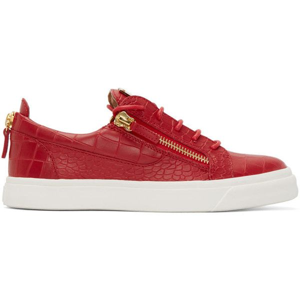 Giuseppe Zanotti Red Croc-Embossed London Sneakers (1.881.815 COP) ❤ liked on Polyvore featuring men's fashion, men's shoes, men's sneakers, red, mens red sneakers, crocs mens shoes, mens red shoes, mens crocodile shoes and mens lace up shoes