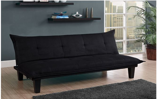 Futons Frame and Mattress Contemporary Futon Sofa Twin Lounger DHP Lodge Black #DHP