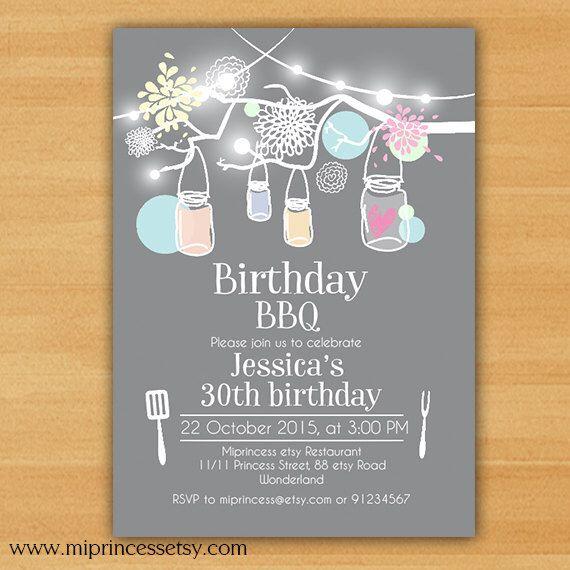Birthday Party Invitation, Birthday BBQ Backyard,kids adult 1st 2nd 3rd 4th 5ht 6th 8th 30th 40th 50th 60th any age invitation - card 616 by miprincess on Etsy https://www.etsy.com/listing/238043224/birthday-party-invitation-birthday-bbq