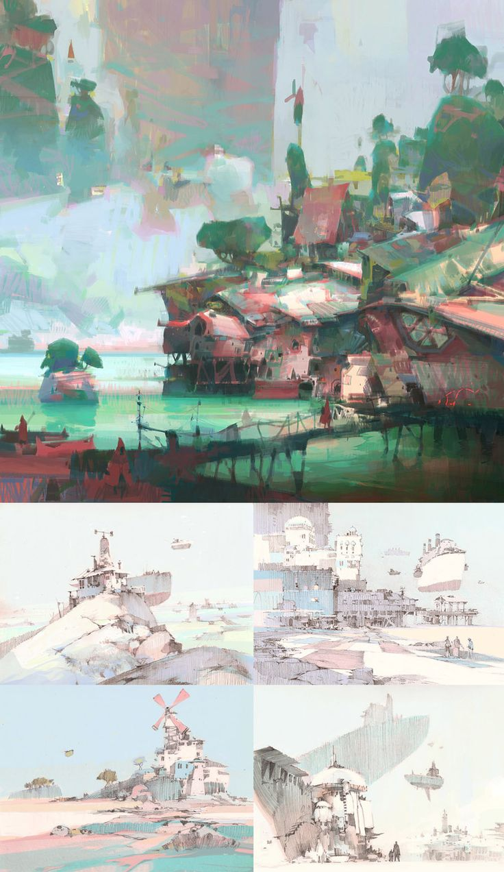 Theo Prins is a freelance concept artist out of Washington State. What I love about his work is his unabashed use of pastels (a color choice not usually associated with concept art) and his beautiful compositions of otherworldly shipyards, sparse landscapes, and flying boats. You can view more of his work at his website and blog, though I initially found him through deviant art.