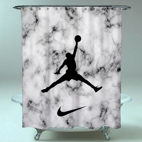 Meilleure vente de rideau de douche imperméable Nike Jordan Black White Favorite   – Shower Curtain Sale