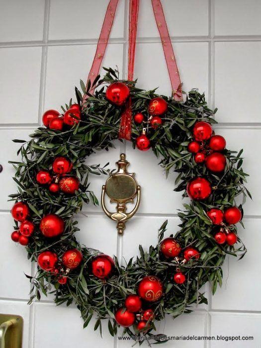Corona de adviento para la puerta navidad coronas for Arreglos navidenos para puertas