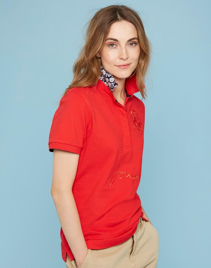 Amity Red Embroidered Polo Shirt  | Joules UK