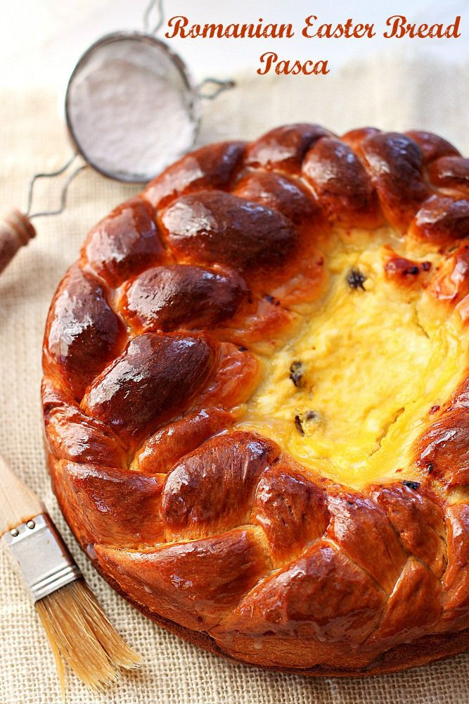 Pasca - Romanian Easter Bread from Roxanashomebaking.com Sweet, soft, enriched yeast bread baked in a springform with a cheese filling inside
