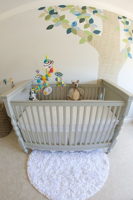gray & white, love the colour of the cot to repaint ours in