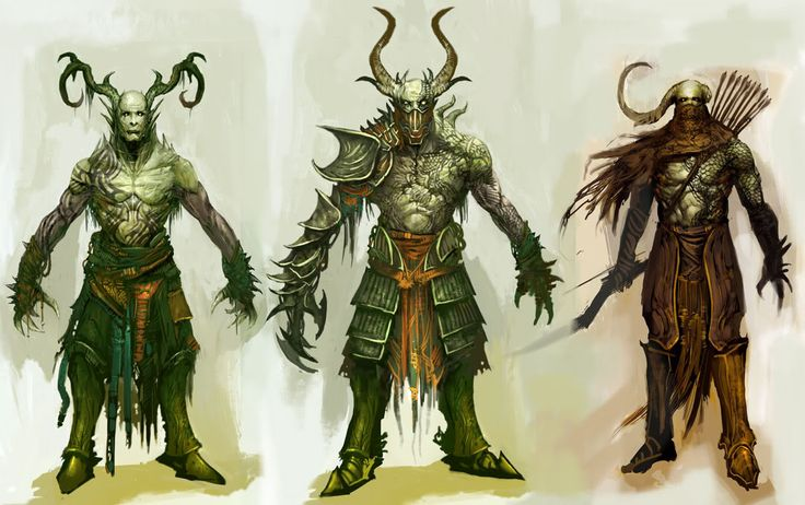 Guild Wars 2.  I like the cowl on the right and the arm guards. I love the movement of all the tendrils. Some of the armour on the central figure evokes bone and may be inspirational for Athenians.
