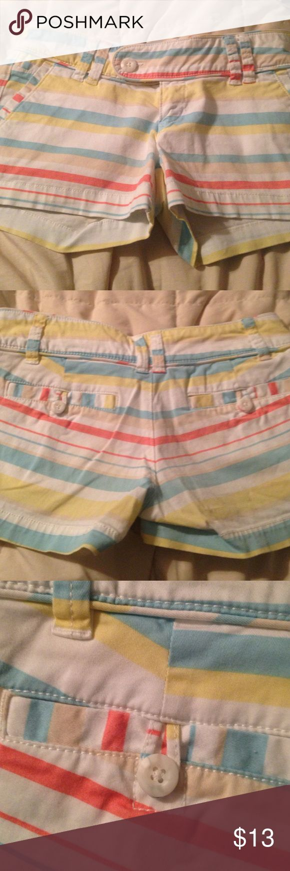 Preppy striped shorts Pretty pastel striped shorts with button and zipper front, button back pockets ready for spring. Pale coral, Aqua, yellow and khaki stripes on white. So cute!! Just outgrown. Excellent condition!! Red Camel Shorts