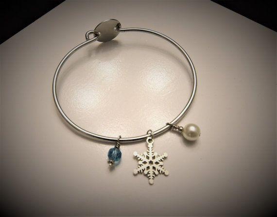 Snowflake Bangle Charm Bracelet by WhitneyGrayDesigns on Etsy