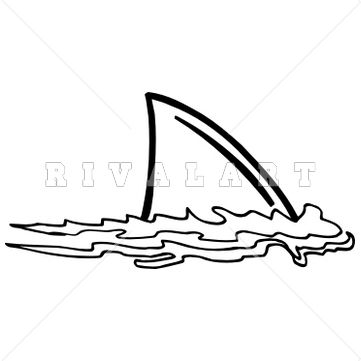 Mascot Clipart Image of A Shark Fin In The Water   Surfer ...