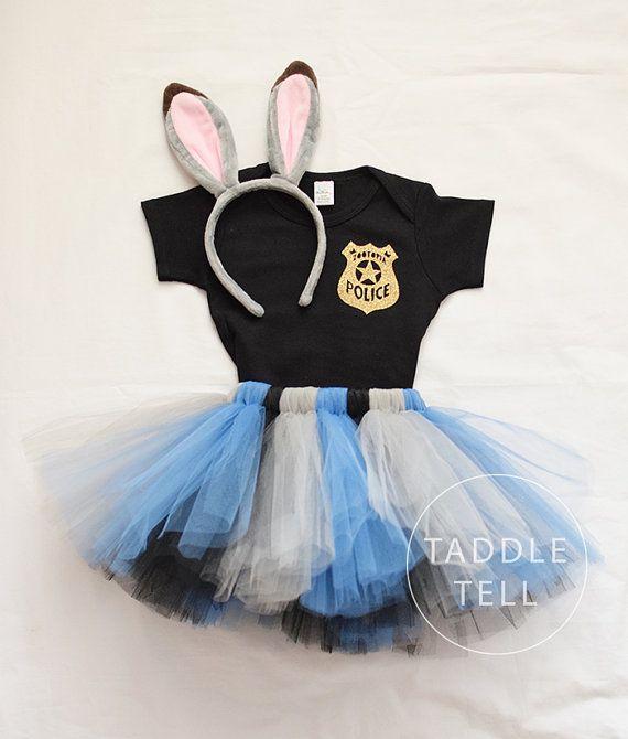 JUDY ZOOTOPIA Inspired Halloween Costume Tutu, Includes Tutu, Shirt, & Ear Headband - Sizes 18, 24 Months, 2t, 3t, 4t, 5t