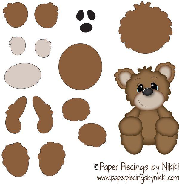 Freebie Bear Printable by PaperPiecingsbyNikki.com for
