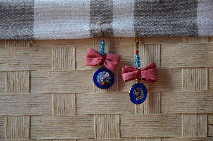 Orecchini rosa antico con pendente in vetro di murrina di Papilau su Etsy