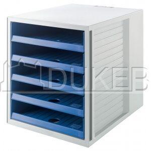 Kancelárske potreby, papiernictvo, školské potreby - DUKEB - Box zásuvkový Cabinet KARMA otvorené zásuvky eco modrá/sivá 1kus