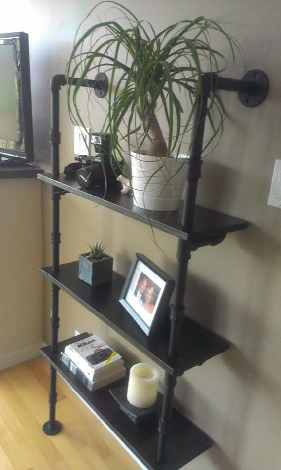 *I like the connectors in the middle of the pipes- could use shorter lengths/standard sizes and double-possible save $. All MATTE BLACK pipe shelves
