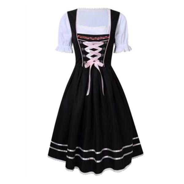 Dirndl Dress for Women Ladies Traditional Bavarian Costume Dress Fancy Dress Apron Dresses for Oktoberfest Halloween Carnival
