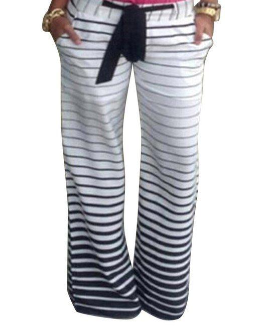Moollyfox Damen Wide Leg Printed Gerade Lose Gestreifte Hosen Extra Lang Elegante Baggy Palazzo Jogginghose Als Bild S