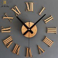 DIY Цифровой Настенные Часы Римские цифры Металлик 3D Стереоскопический Творческие Стены Стикеры Акриловые Настенные Часы