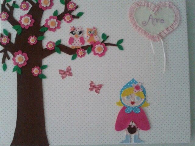 'Schilderij' voor mijn dochter van stof en vilt.