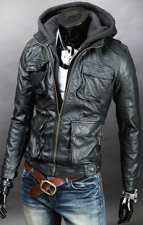 Men detachable fabric hooded leather jacket | Fabrics, All ...