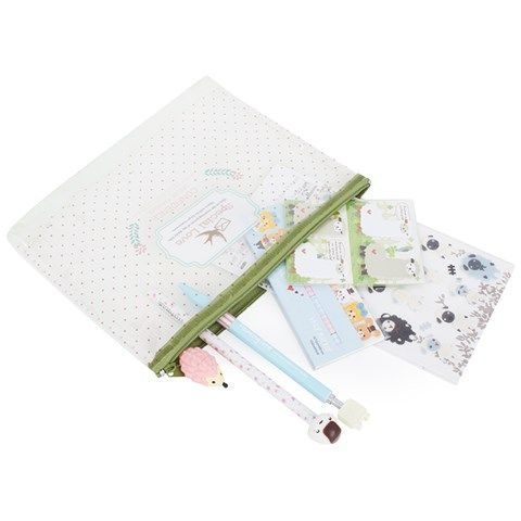 Green Stationery and Pencil Case