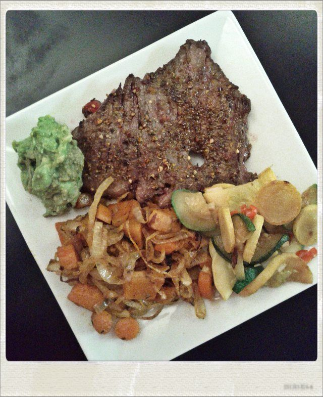 WLC Meal: Skirt Steak with Guacamole, Roasted Root Vegetables, and Sauteed Summer Squash   Solidarity Eats