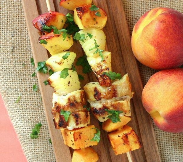 Honey Pork Tenderloin Kabobs: Peaches, pork,, and sweet potatoes ...