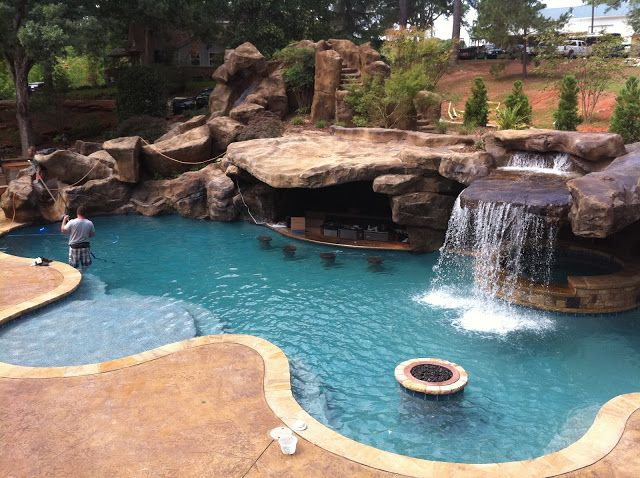 Backyard Oasis Pools: Custom Pool & Faux Rock Grotto & 40' Slide