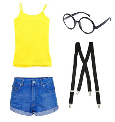 Despicable Me Minion Halloween costume, except with long jeans (because it'll be cold) and a long-sleeved shirt (again because it'll be cold) *gotta find black suspenders*