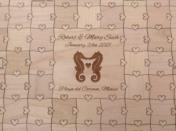 30 pcs Beach Wedding Guest Book Puzzle  (Custom Puzzle w/ Heart Tabs)