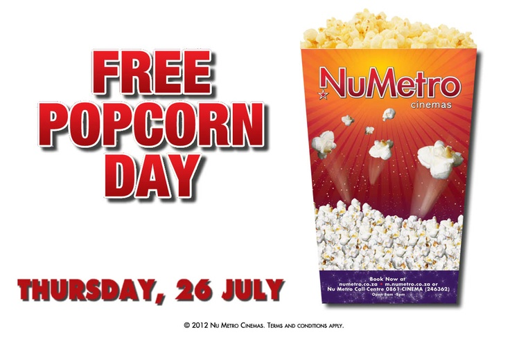 Free popcorn at Nu Metro Cinemas on Thursday, 26 July! Terms and conditions apply, so click through to read them.