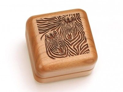 Zebra Faces Engraved Hinged Box #zebra #woodenbox