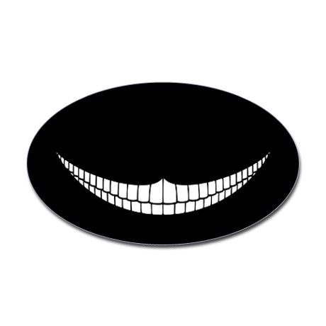 Cheshire Grin Oval Sticker  #bikedecals #bike #motorcycle #scooter #moped #helmet