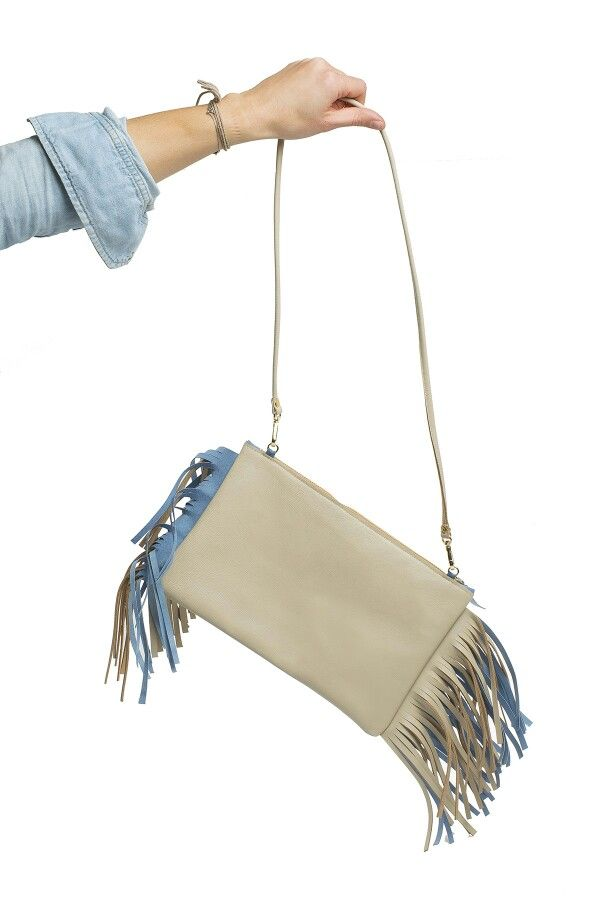 Leather clutch with fringes