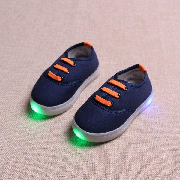 Kids LED Light Luminous Canvas Elastic Casual Shoes