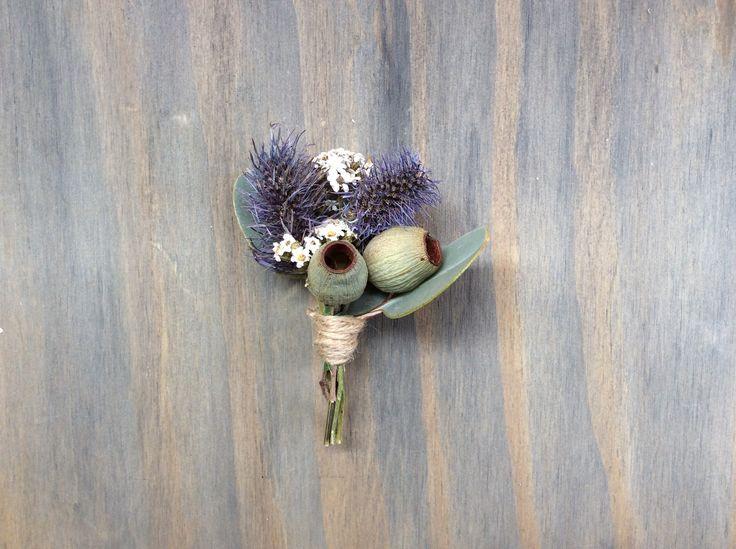 Sea Holly, Gum Nuts, rustic buttonhole.  Shepparton Florist