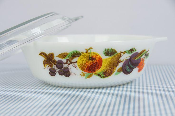 JAJ Pyrex casserole dish, vintage pyrex dish with lid, fruits print, Kent Orchard print by JoorVintageTreasures on Etsy