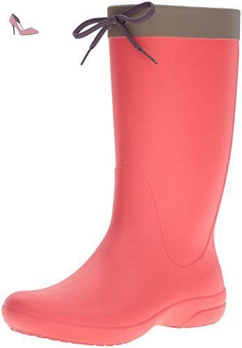 Crocs Crocs Freesail Rain Boot, Bottes de Pluie femme - Rouge (Flame 8C1), 38/39 EU - Chaussures crocs (*Partner-Link)