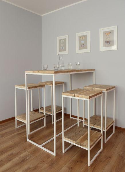 Terassengarnitur aus Bauholz, Bartisch, Hocker von Woodenfactory auf DaWanda.com